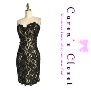 Vintage 1980 Lilly Rubin Gold & Black Lace Dress